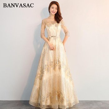 BANVASAC Illusion O Neck Sequined Appliques A Line Long Evening Dresses Elegant Party Metal Sash Backless Prom Gowns