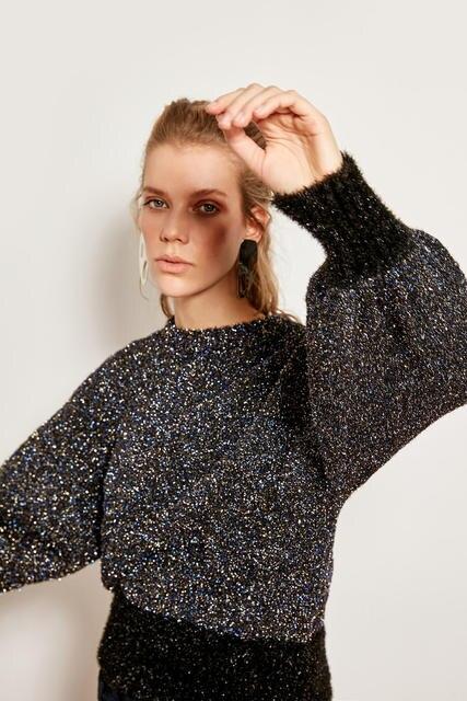Trendyol סרוג סוודר כהה כחול מתכתי TCLAW19NK0060