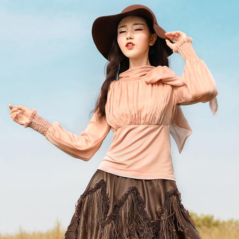 Livraison gratuite 2019 nouveau mousseline de soie Patchwork lanterne à manches longues chemise pour femmes t-shirts coton Bandage printemps et automne dames hauts