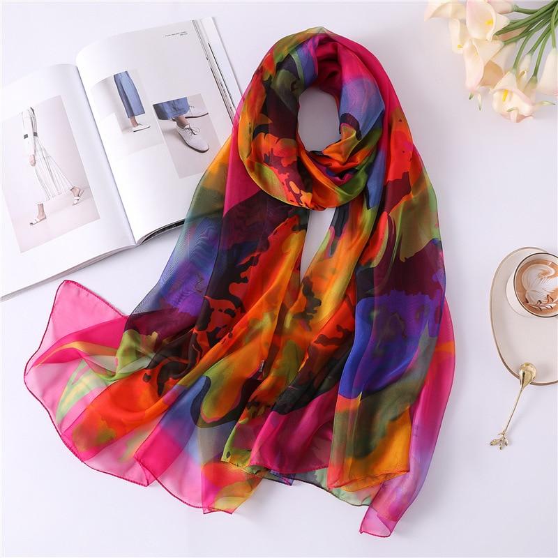 2019 New Women's Spring Silk   Scarf   Soft   Scarves   Large Size Shawls   Wraps   Ladies Summer Pashmina Female Bandana Hijab Foulard