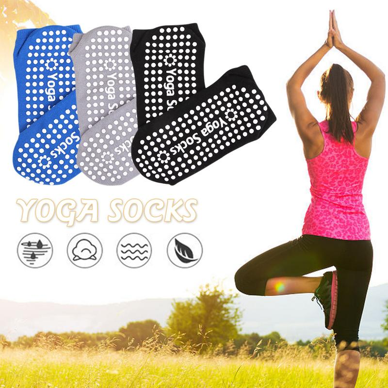 1 Pair Of Yoga Socks Silicone Non Slip Pilates Barre Breathable Sports Floor Socks With Grips Combed Cotton Free Size