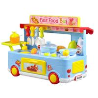 29pcs/set Children's Simulation Fast Food Bus Toy Food Sale Car Kitchen Funny Pretend Play House Toy Gift For Children