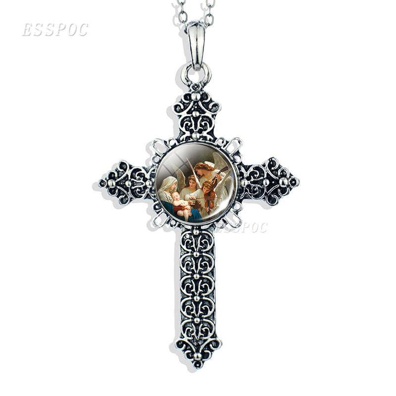 Syn boży naszyjnik z jezusem na krzyżu szkło Cabochon biżuteria anioł Christian Virgin Mary srebrny Paw drukuje wisiorek kobiety prezenty