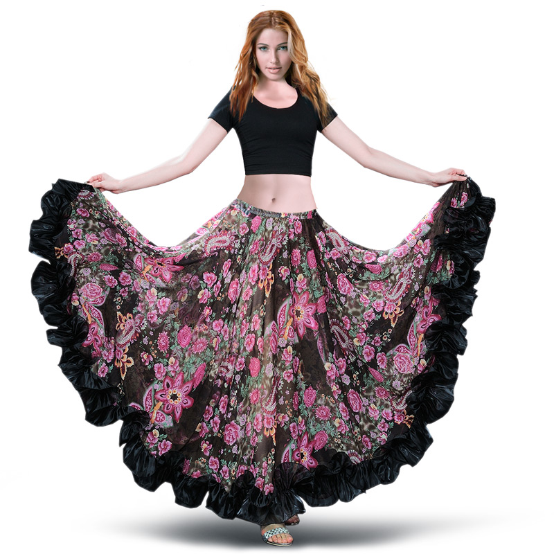 Skirts Dress Costumes Belly-Dance-Skirt Spanish Chiffon Gypsy Swing 360 Bohemia Large title=
