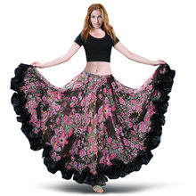 Free Shipping Bellydancing Bohemia Chiffon 360° Large Swing Skirts Gypsy Belly Dance Skirt Costumes Dress Spanish Flamenco Skirt(China)
