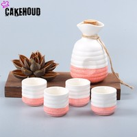 CAKEHOUD Japanese Creative Wine Set Home Ceramic Wine Glass White Wine Sake Pot One Pot Four Cup Set Drinking Utensils WineGlass
