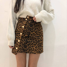 Women Leopard Skirt Front Single Breasted A-Line Empire Waist Sexy Irregular Above Knee Mini Length 2019 Fashion single breasted split front calico print skirt