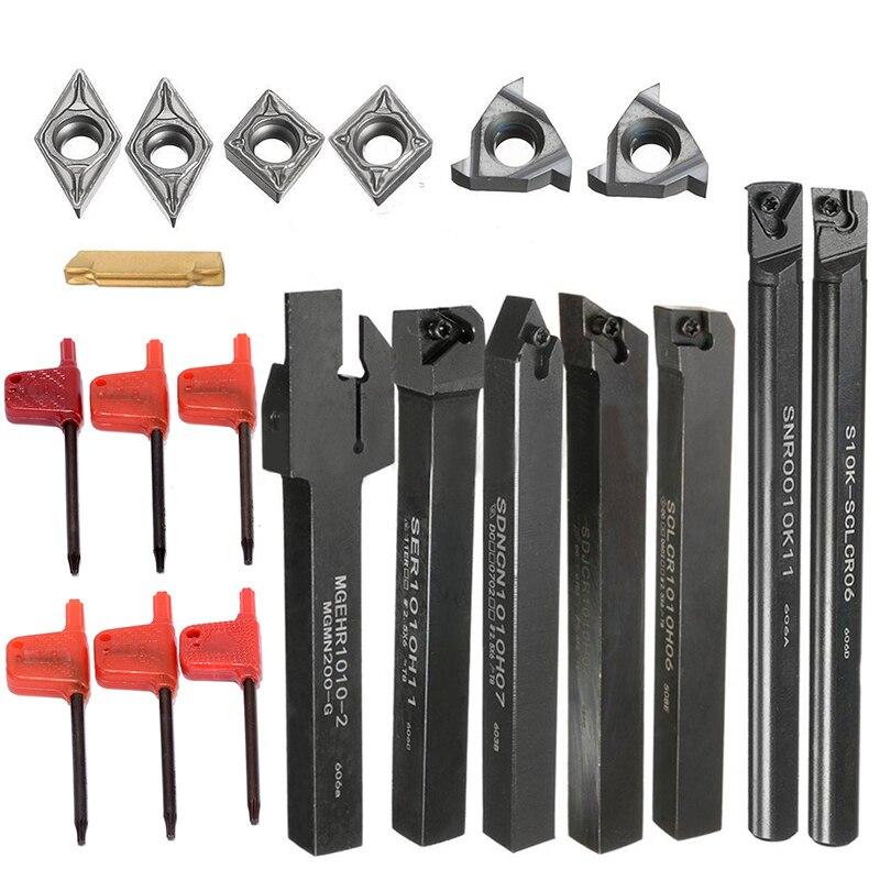 PDTO 7 pièces jeu de 10mm CNC tour tournant outil support barre d'alésage avec 7 pièces DCMT CCMT coupe Insert lame avec 7 pièces clé