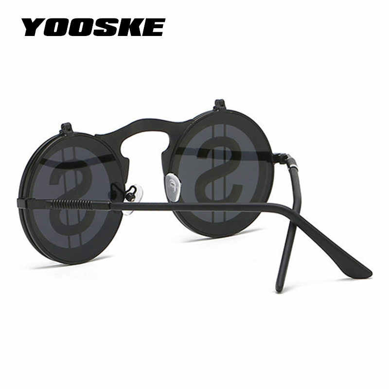 328761988cd27 ... YOOSKE Round Steampunk Goggles Sunglasses Men Vintage Metal Frame Steam  Punk Sunglass Women Reflective Lens Flip ...