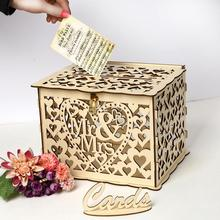 Wooden Wedding Supplies DIY Business Card Gift Box with Lock Beautiful Decoration for Birthday Party