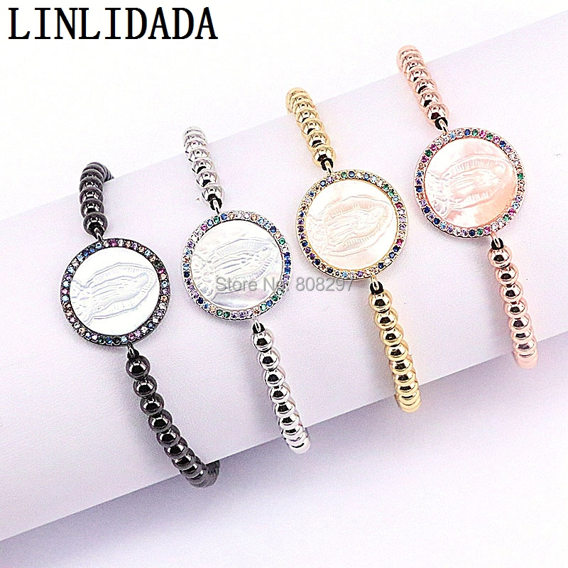 8Pcs CZ Micro Pave Round White Shell Virgin Mary Connector Braiding Macrame Bracelets Fashion Jewelry
