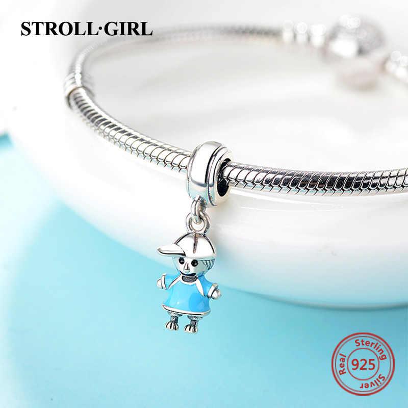 Strollgirl yeni varış 100% 925 ayar gümüş çift küçük kız ve erkek kolye Charm fit kızlar Charm bilezik DIY takı 2018