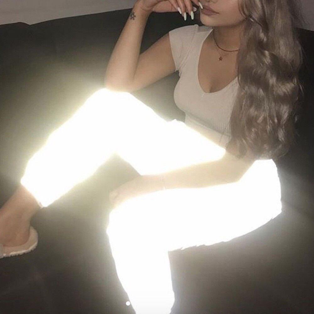 New Arrival Soild Skinny Mid Waist Pants Metal Color Silver Black Bra Set Wanita Sexy Transparan Metalik 8302 Mode Baru Reflektif Hip Hop Dance Tinggi Pinggang Celana Acara Pesta Malam Lari Longgar