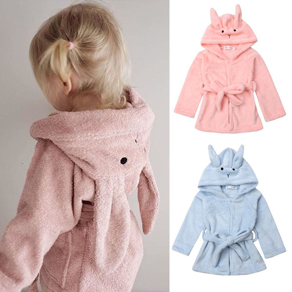 Girls Boys Bathrobe 3D Animal Unicorn Star Dressing Gown Fleece Night Loungewear