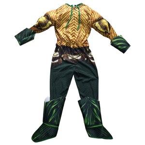 Image 3 - Disfraz de Aquaman dorado para niños, disfraz de músculo, superhéroe, Halloween