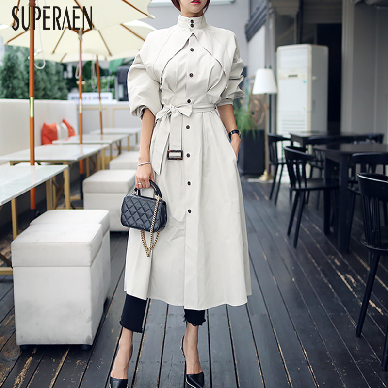 SuperAen Autumn 2018 New Fashion Women Windbreaker Fashion Cotton Casual Wild   Trench   Coat for Women Korean Style Long Coats