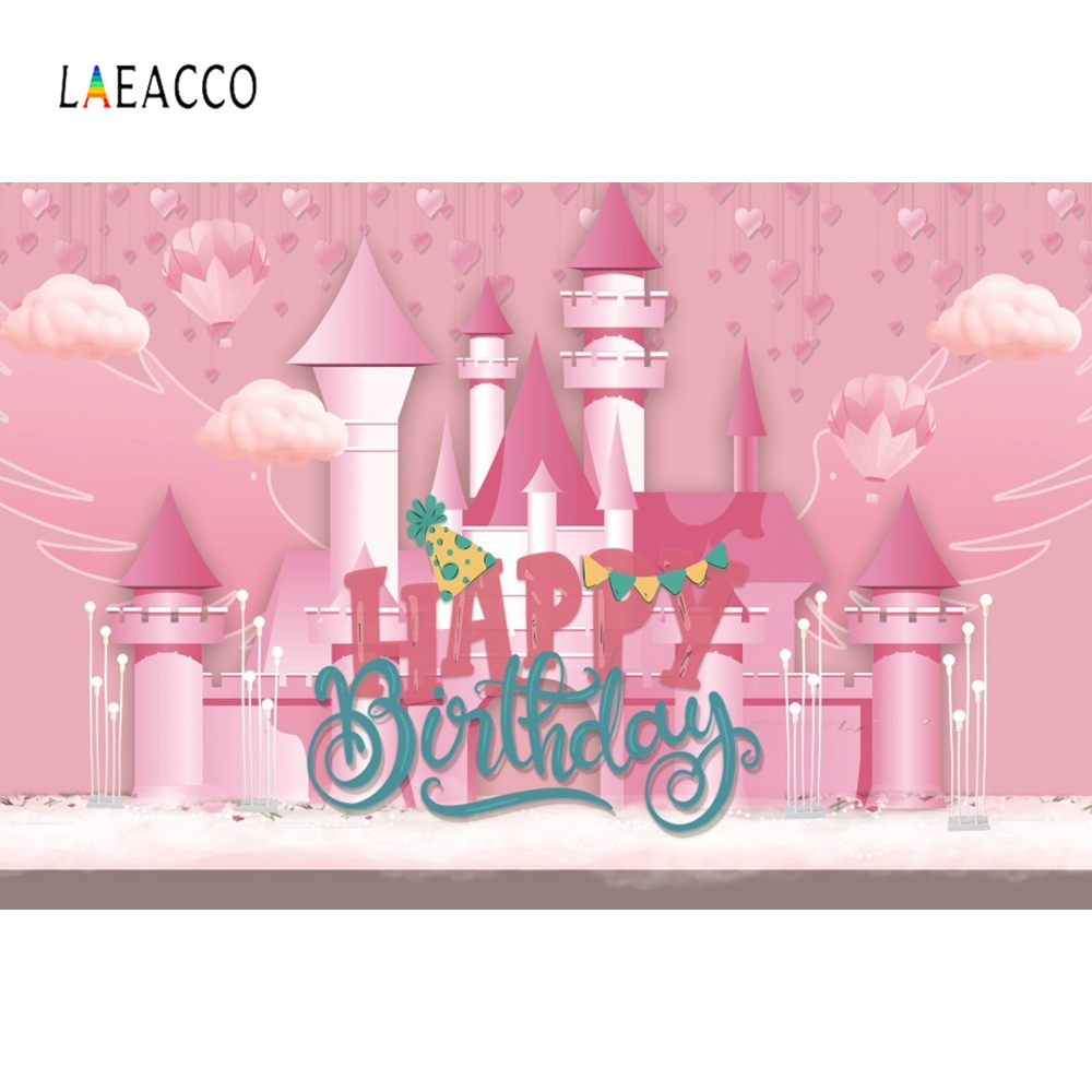 Laeacco Little Girls Birthday Backdrop Pink Castle Photography Background Customized Photographic Backdrops For Photo Studio