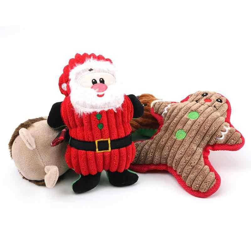 جديد عيد الميلاد سانتا كلوز كلب اللعب مضغ Squeaker الحيوانات الأليفة أفخم لعب للكلاب لطيف العض حبل الصوت اللعب