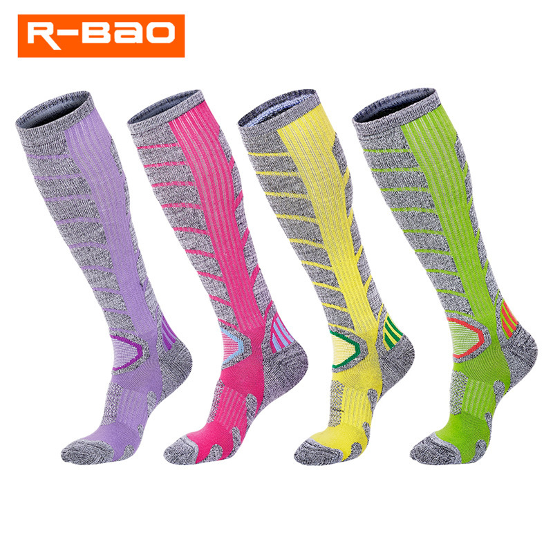 R-BAO Ski Socks Thick Cotton Sports Snowboard Cycling Skiing Soccer Men Women Moisture Absorption Warm High Elastic