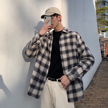 Mens Shirt 2019 Spring New Casual Square Collar Plaid Loose Long Sleeve Personality Youth Wear