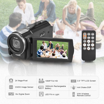 Andoer 1080P Full HD Digital Video Camera DV Recorder Camcorder 24MP 16X Digital Zoom LCD Touchscreen Anti-shake with Remote