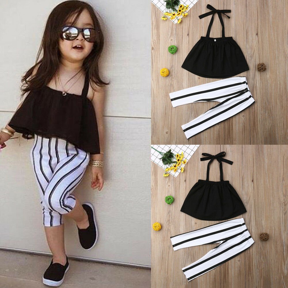 Pudcoco Girl Set Toddler Kids Baby Girls Clothes Summer Strap Tops+Stripes Pants Outfits Set 1-6T