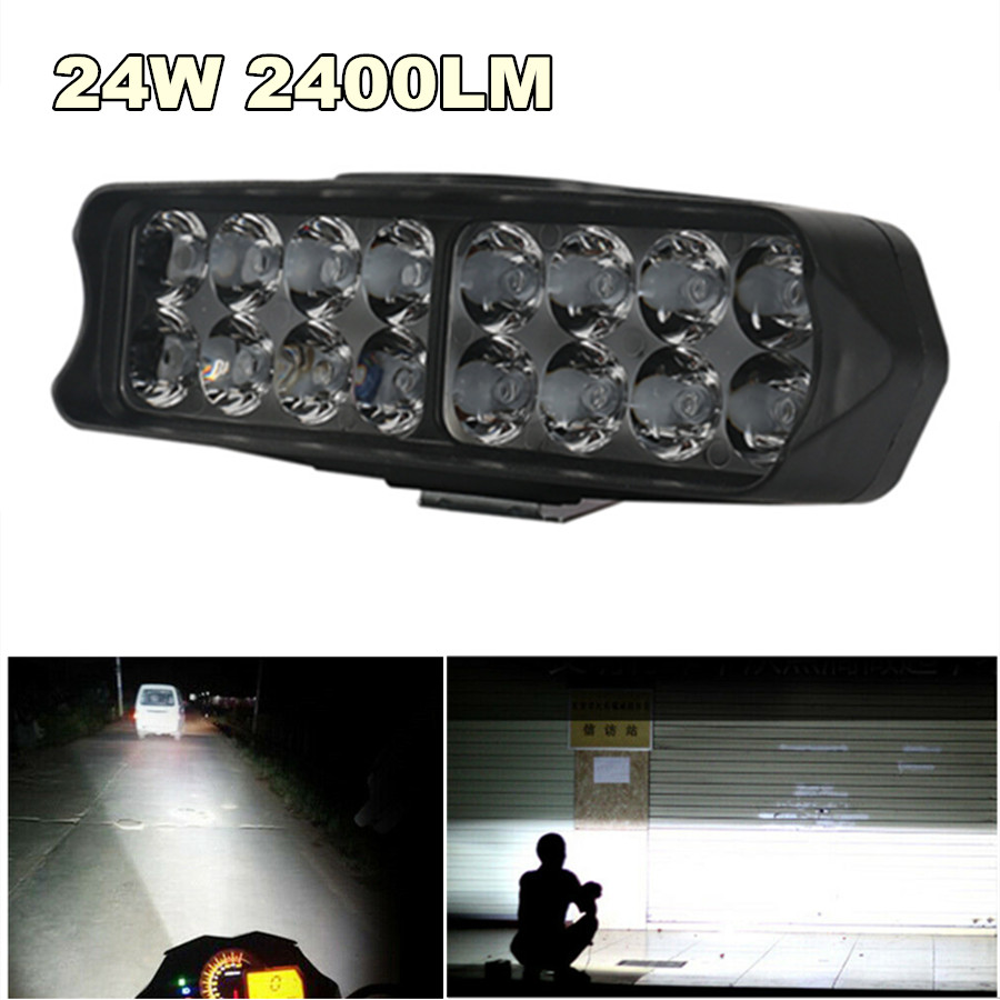 Universal 24W 2400LM LED Work Light Bar Fog Spotlight Headlight Driving Lamp For 12-85V Car Truck Offroad