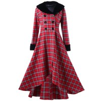Winter Plaid Wool Coat Oversized Women Asymmetric Swing Hem Slim Fake Fur Collar Outerwear Warm Elegant Vintage Long Overcoats