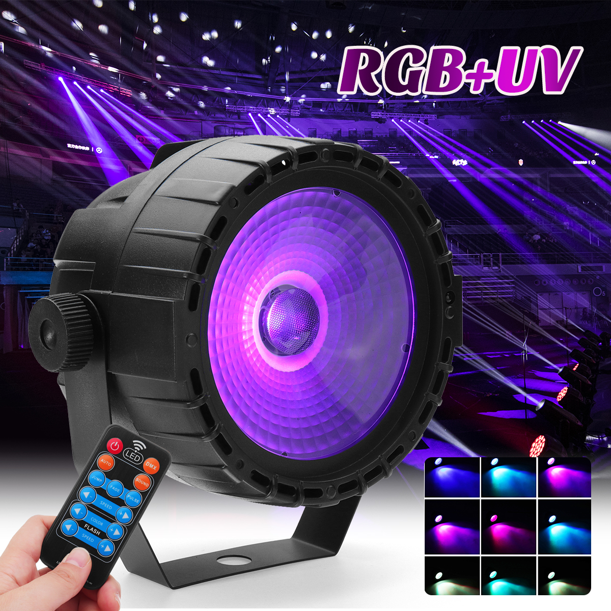 30W LED  Light Remote Control RGB + UV Self-propelled/Voice Control/DMX512 For DJ Bar Party Bar Church 90-240V US/Eu Plug