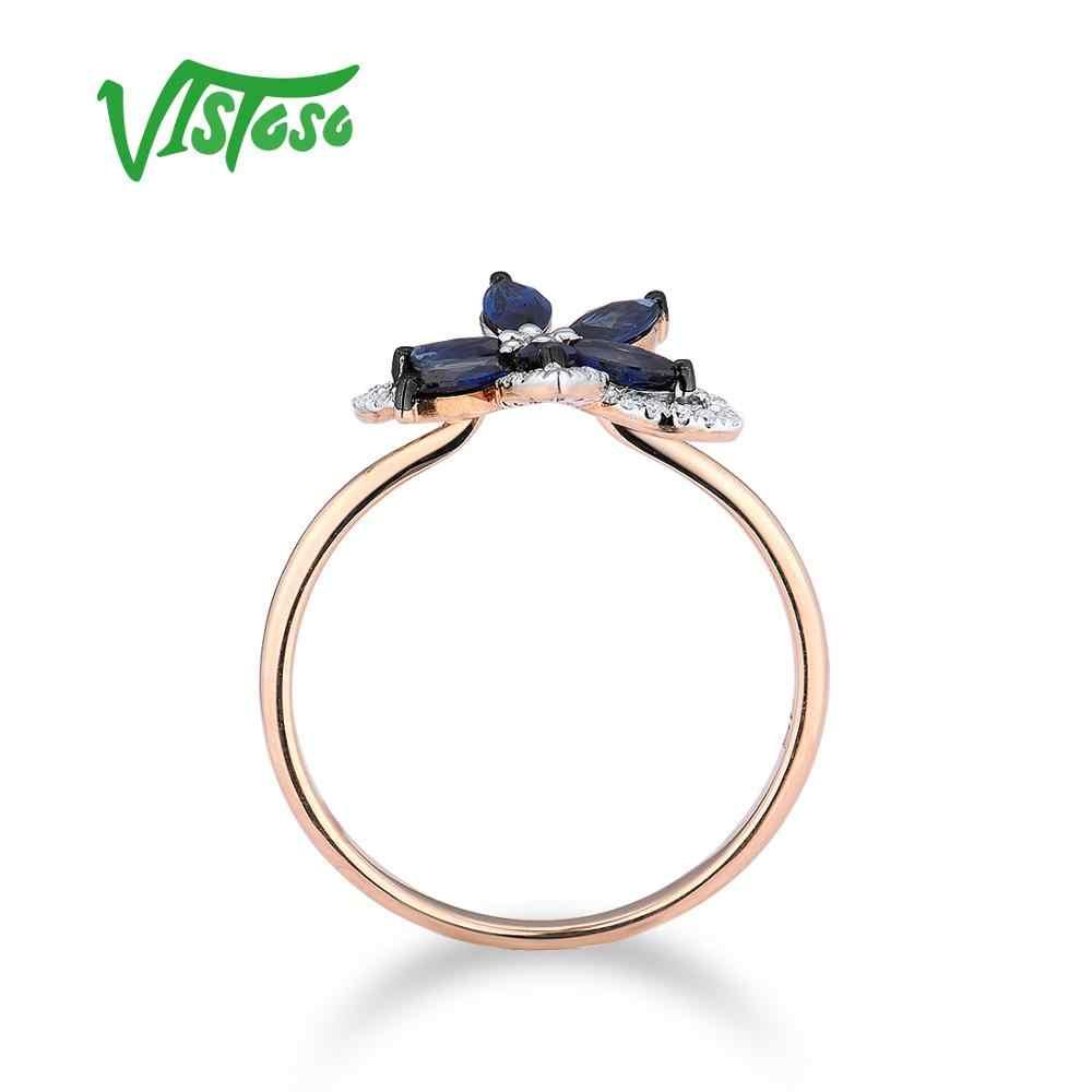 VISTOSO PURE 14K 585 Rose Gold แหวนผู้หญิงแหวนเพชรสีฟ้าหรูหราไพลินหมั้น Elegant Fine เครื่องประดับ