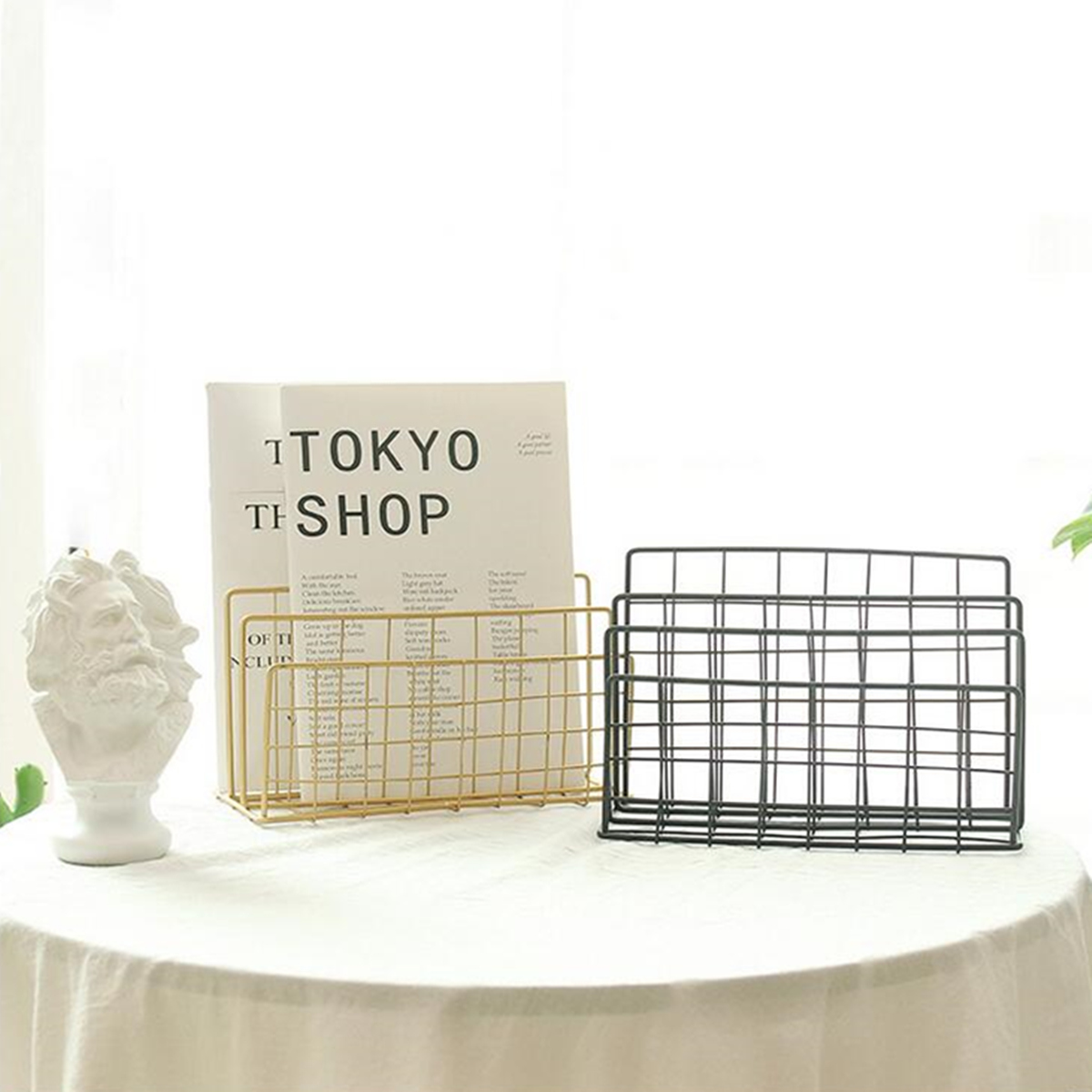 Magazine Holder Grid 3 Compartments Bookshelf Wrought Iron Letter Storage Rack Tray Holder New Office Desk Organizer File Tray