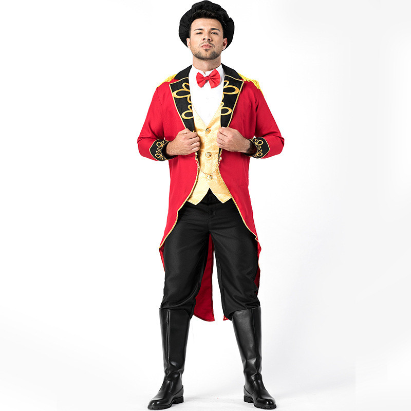 Halloween Men Deluxe Ringmaster Costume Circus Ring Master Magician Tuxedo Fancy Dress