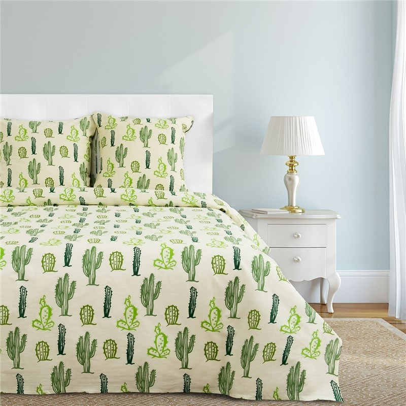 Bed Linen Ethel's duo Cacti 143 × 215 cm-2 pcs, 220 × 240 cm, 70 × 70 cm-2 pcs 100% CHL, calico 125g/m² calico print crochet back mix