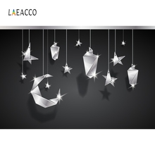 Laeacco Night Moon Stars Decoration Screen Backdrop Photography Backgrounds Customized Photographic For Photo Studio