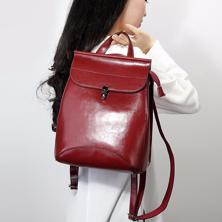Vintage Wax Oil Genuine Leather  Woman Travel Feminine Fashion Backpack Female For Girls School Women Bagpack #6