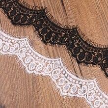 3 метра красивая кружевная ткань аппликации 7 см в ширину черно-белая кружевная лента Швейные аксессуары Diy одежда Свадебная вечеринка украшения