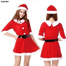 The New Peter pan Collar Christmas Costume Arrival Fancy Santa Cosplay Suit Claus Sexy Dress with Hat Belt