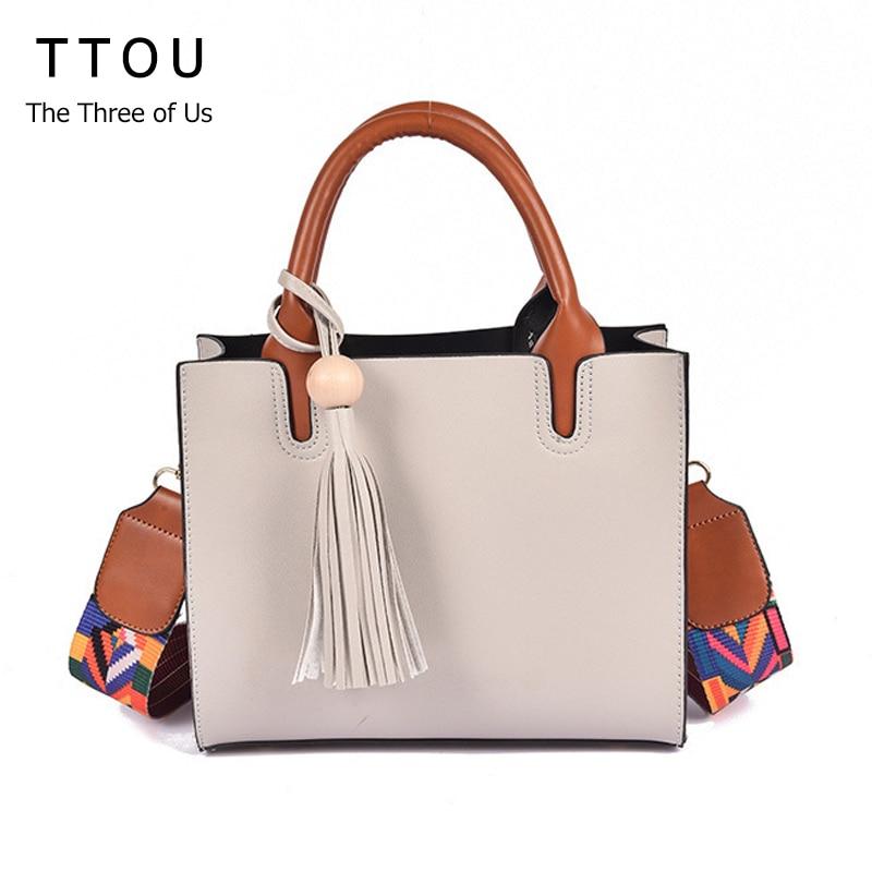 TTOU  Women Fashion Tassel Crossbody Bag Female Designer Shoulder Bags with Colorful Strap Shoulder Bag Female Pu Handbag shoulder bag