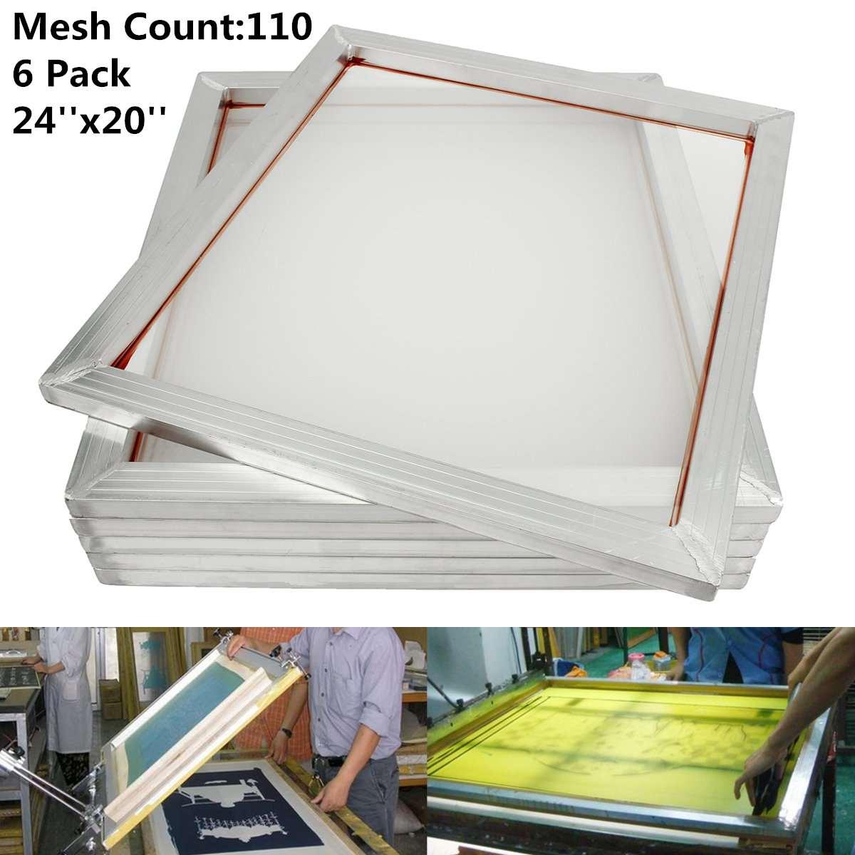 6Pcs Set 50X60cm Aluminum Silk Screen Printing Press Screen Frame 110 Mesh Count for High precision Printed Circuit Boards