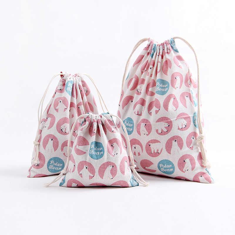 Оригинальная художественная хлопчатобумажная ткань, мешок со шнурком, мультистильная мультяшная кошка, для домашнего хранения, Рождественская подарочная упаковка для конфет, сумка для монет, кошелек