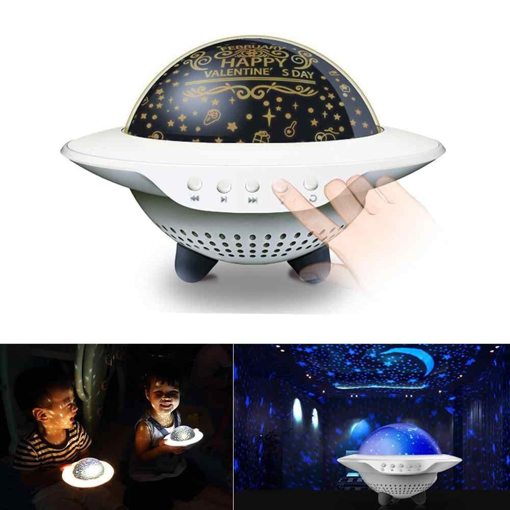 Уникальный НЛО форма музыка звездная звезда проекционная лампа с 4 горки ночник Романтический поворот настольная лампа для детской спальни