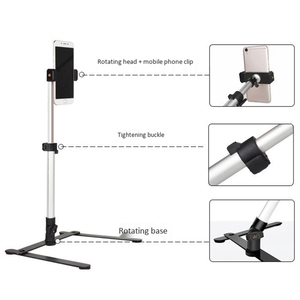Image 5 - Photography Adjustable Table Top Stand Set Mini Monopod+Phone Clip Fill In Light Bluetooth Control