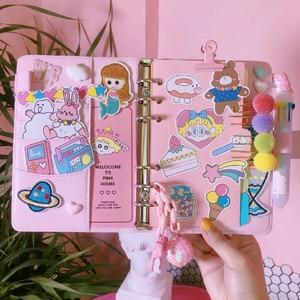 Image 1 - JUGAL Korean Pink Girl Heart Loose leaf Book DIY Weekly Plan Notebook 2019 Macaron Minimalist Plan School Office Stationery Gift