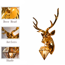 Nordic Antler LED Wall Lights Resin Lamps Deer Bedroom Buckhorn Kitchen Hanging Lamp Home Decor Soconces Sconce
