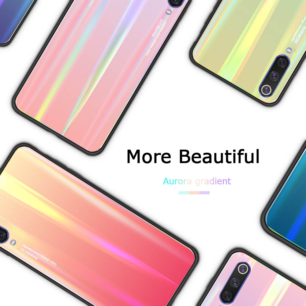 Phone Case for Huawei P30 lite P20 Pro Mate 20 Xiaomi mi 9 8 se Mix 3 Max 2 2S Laser Tempered Glass Gradient Colorful Cover Capa