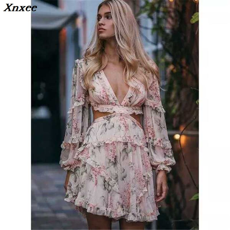 Xnxee Summer Women Rompers 2019 Fashion Blue Print Floral Long Sleeve Silk Sexy V Neck Female