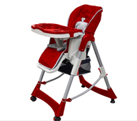 VidaXL Children'S High Chair Deluxe Red Beaded Height Adjustable And With Removable Service Tray For Child To Eat Comfortably