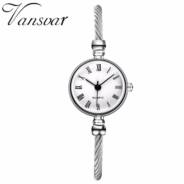 Hot Fashion Women Simple Silver Roma Dial Watch Casual Luxury Small Bracelet Fem