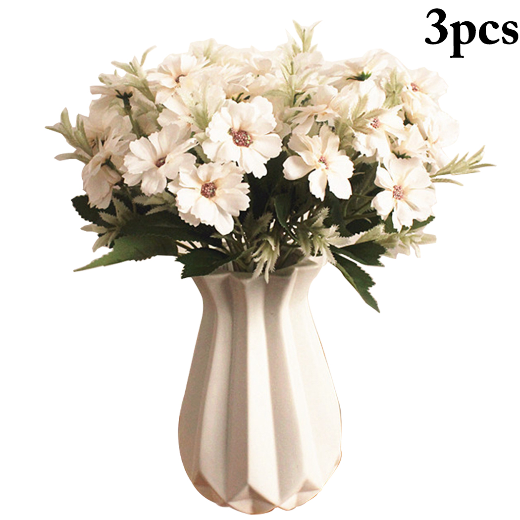 3PCS Simulation Flower Chamomile Artificial Lifelike Chrysanthemum Fake Home Decoration Supplies