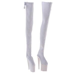 Image 5 - 1/6 kobiet PU skórzane buty 12 cal figurka na wysokim obcasie nad kolana długie Model Fit kobiety buty 3 kolory